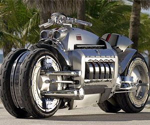 With 500 HP under the frame, the world's fastest motorcycle gives an entirely new meaning to the term crotch-rocket. It features a sleek metallic and chrome body in addition to a SRT-10 engine built to give the fastest sports cars in the world a run for their money.