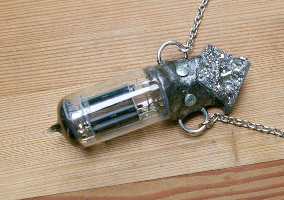 Cyberpunk Electric Asteroid Vacuum Tube Industrial Necklace