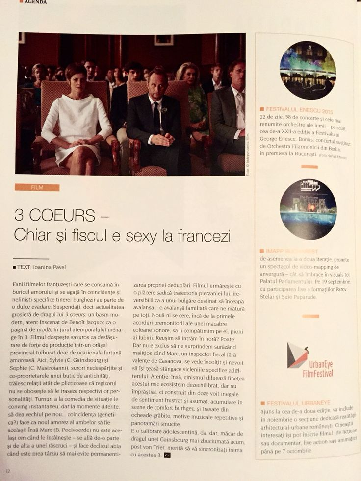 3 coeurs - #film review in Igloo mag, September issue 2015 - w/ C. Gainsbourg and C. Mastroianni