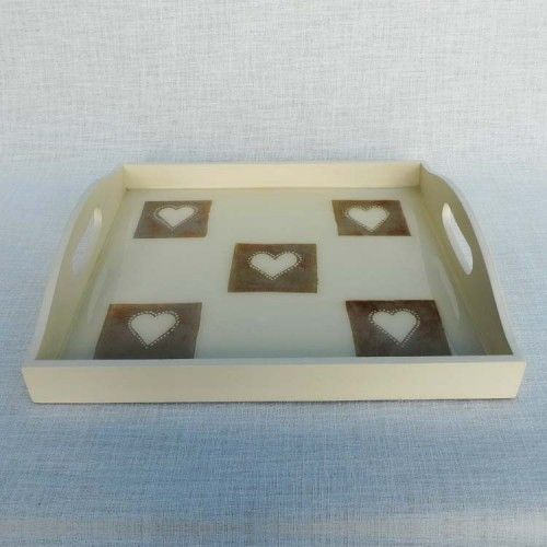 Wooden tray decorated with 5 hand painted/crafted recycled tea bags preserved under resin. Has a cork base.