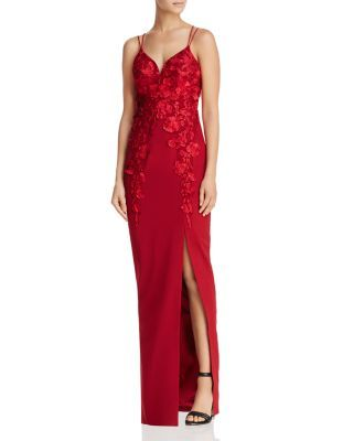 Bariano Floral Appliqué Gown | bloomingdales.com