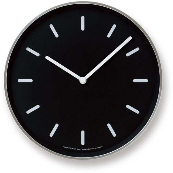 Mono Wall Clock in Black w/ Lines design by Lemnos ($150) ❤ liked on Polyvore featuring home, home decor, clocks, filler, wooden wall clock, wood clock, ships clock, black wall clock and black clock