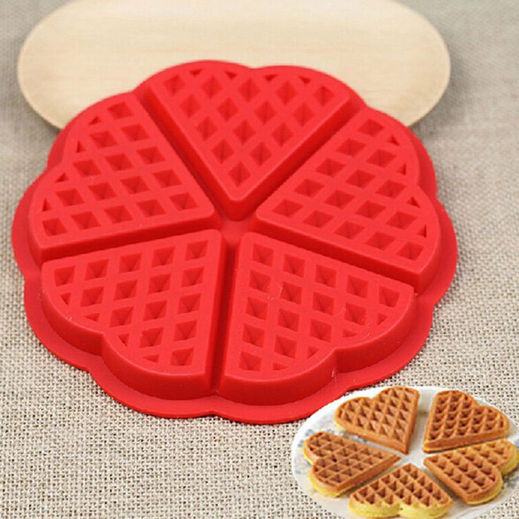5-Cavity Fancy Hearts Silicone Waffle Pan Mold For Easy, Perfect Waffles Every Time