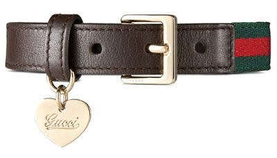 The Gucci dog collar features the signature web and brown leather trim with a light gold dog tag. All Gucci collars are hand-made in Italy. ►PRICE INSIDE