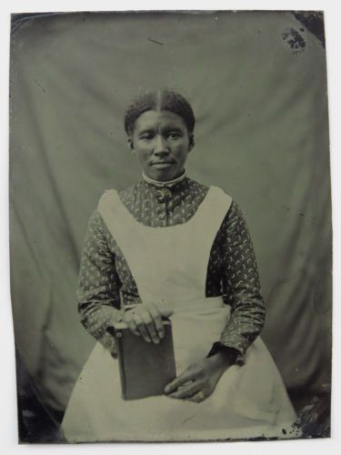 Tintype-Photograph-Portrait-of-an-African-American-Woman-Holding-Book-Apron