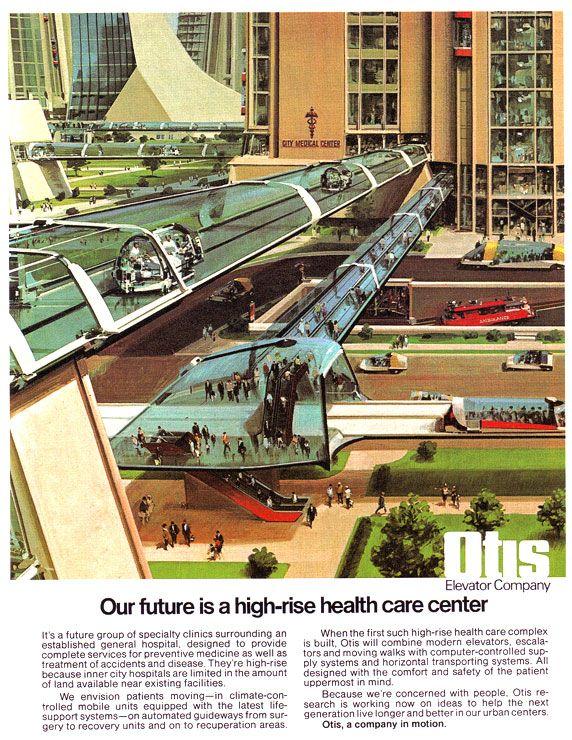John Berkey - retrofuturism, vintage Otis Elevator Company vision of a future high-rise healthcare center