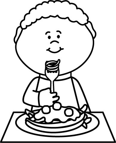 Black And White Boy Eating Spaghetti