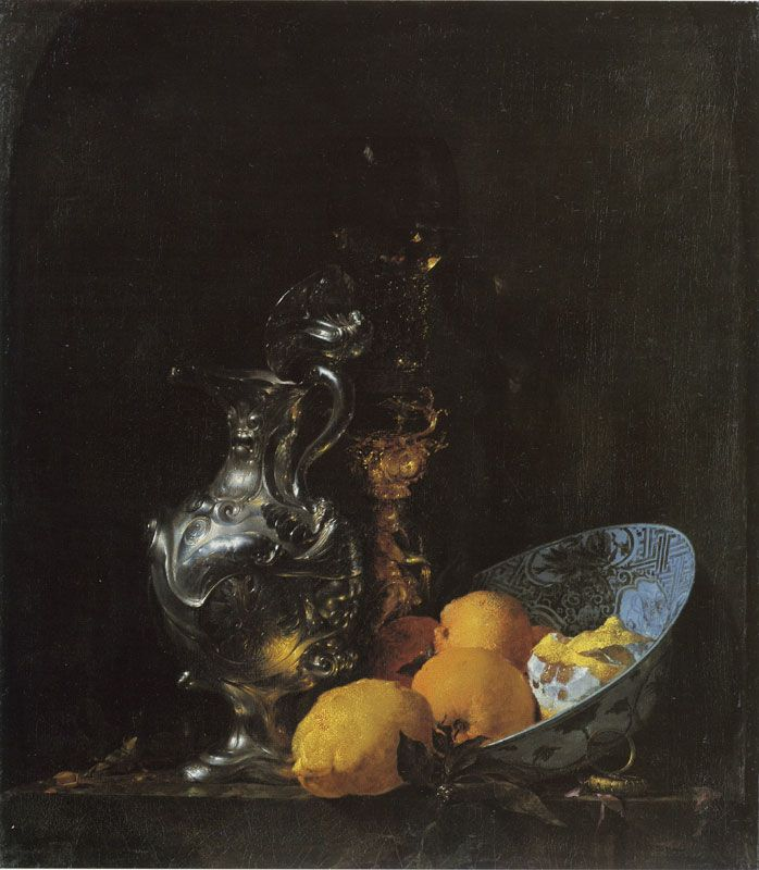 Willem Kalf  A Silver Jug, a Glass on a Stand, and a Bowl with Fruit  c. 1655-57  73.8 x 65.2 cm  Oil on canvas  Rijksmuseum, Amsterdam