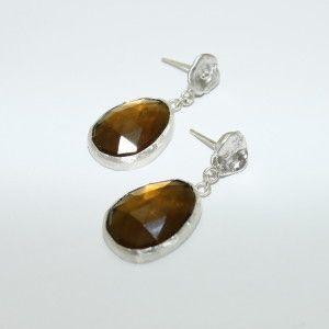 Rose cut Smoky Quartz Sterling Silver drop earrings