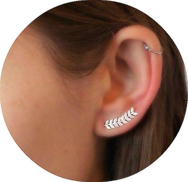 Blad oor klimmer oorbellen sterling zilver | Made By Peki Design