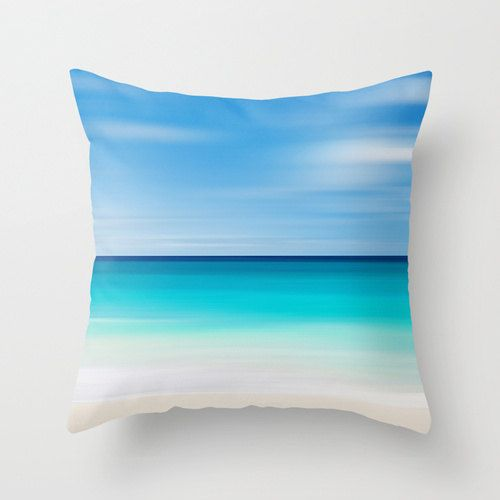 Coastal Decor Photography Pillow Beach Cottage Living Room Teal Turquoise Aqua Beige White ...