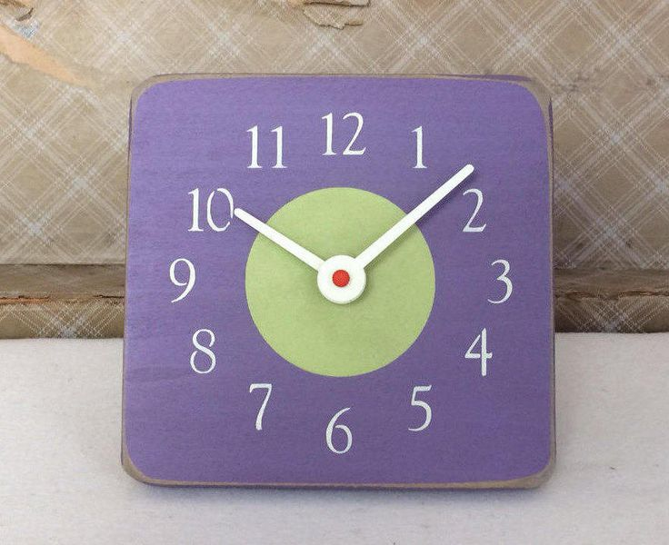 Excited to share the latest addition to my #etsy shop: Unique Wood Wall and Desk Clock. Purple and Light Green. Hand crafted in Montana. http://etsy.me/2BMRE9E #housewares #clock #purple #green #deskclock #artisan #homeandliving #paintedclock #homedecor