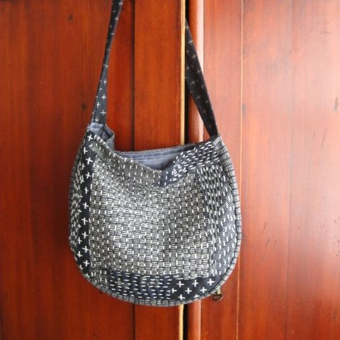 Boro style stitching on Japanese fabric. See my store at www.madeit.com.au/HookandBobbin