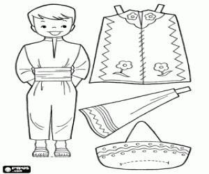 Boy Paper Dolls Coloring Pages   Paper doll to dress up in traditional costumes of Mexico