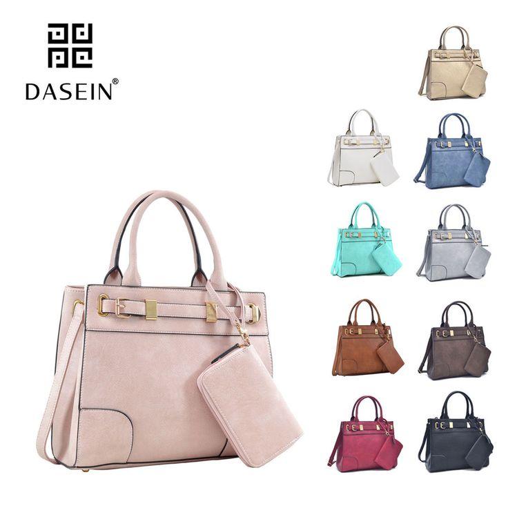 e044a51575e New Dasein 2pcs Womens Handbags Faux Leather Satchel Shoulder Bag Work Day  Purse