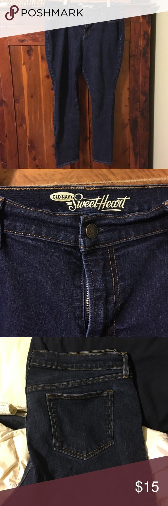"""Old navy jeans """"The sweetheart"""" jeans. Size 16 shirt/petite. Very cute and comfortable, just too big for me. Excellent used condition! Old Navy Jeans"""