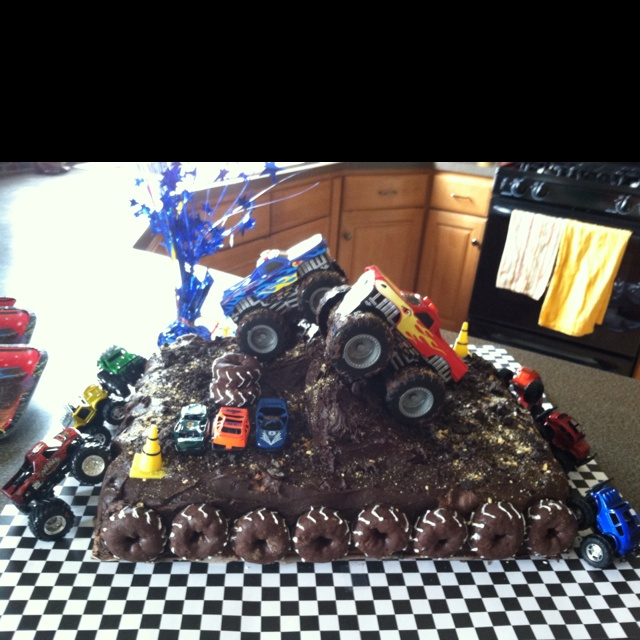 Monster truck cake I made for a 4th Birthday party.