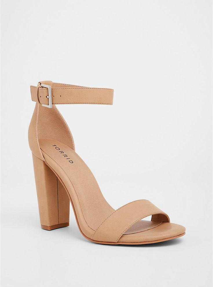 Faux Nubuck Ankle Strap Tapered Heel
