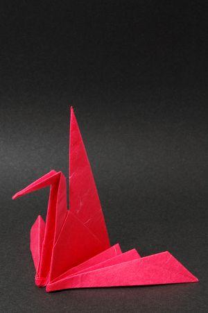 De rojo origami papel japonés, cambiar grullas de papel, Ori-watsuru, fondo negro Fotos, ilustraciones y fotógrafo inmadura