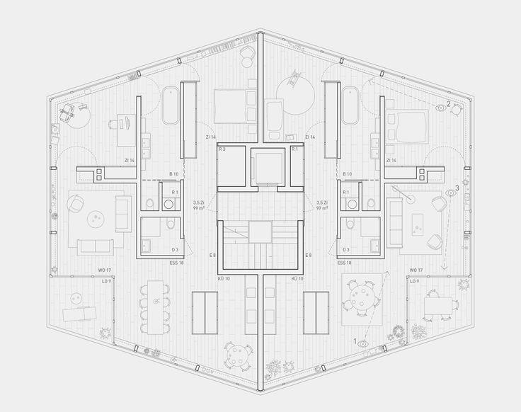 Die 25 besten ideen zu grundriss mehrfamilienhaus auf - Architektur plan ...