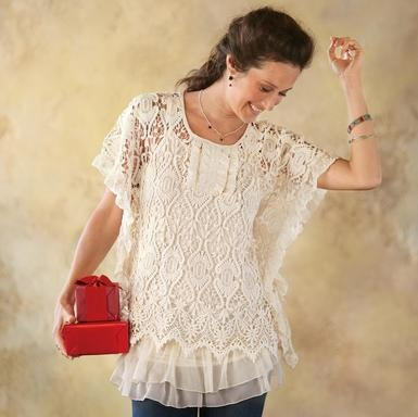 TALOOH-LA-LA TUNIC--A crocheted lace overlay floats flirtatiously over its ruffled tunic, the pair a feminine force to be reckoned with. 100% cotton