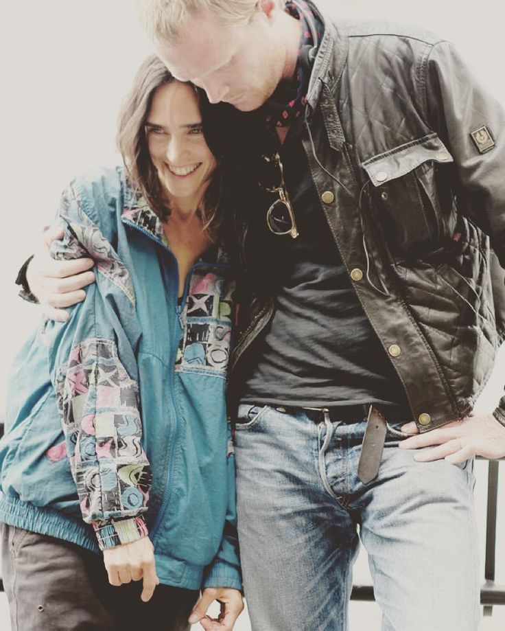 Jennifer Connelly and husband Paul Bettany on the set of Shelter. What an example