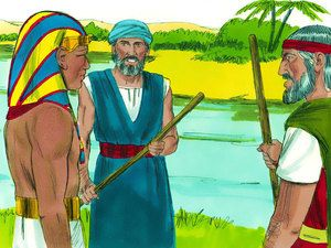 Free Bible illustrations at Free Bible images of Moses and the first seven plagues God sent on Egypt. (Exodus 7 - 9): Slide 1