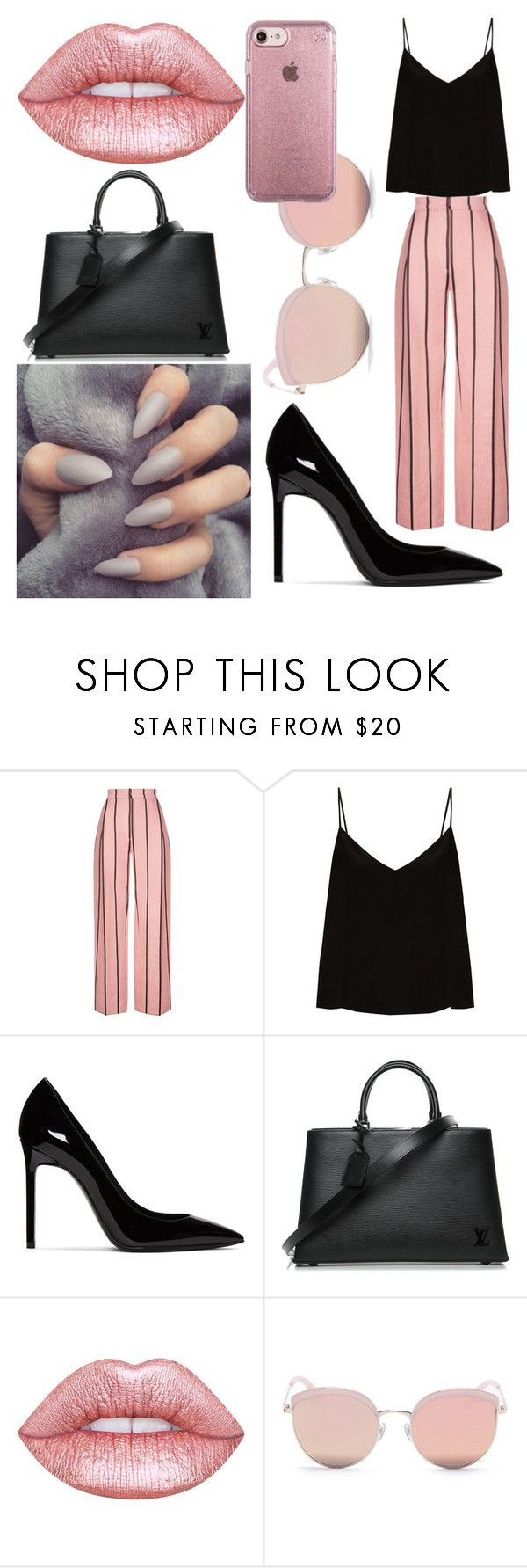 """Untitled #6"" by mashatishhenko ❤ liked on Polyvore featuring Raey, Yves Saint Laurent, Louis Vuitton, Lime Crime, Stephane + Christian and Speck"