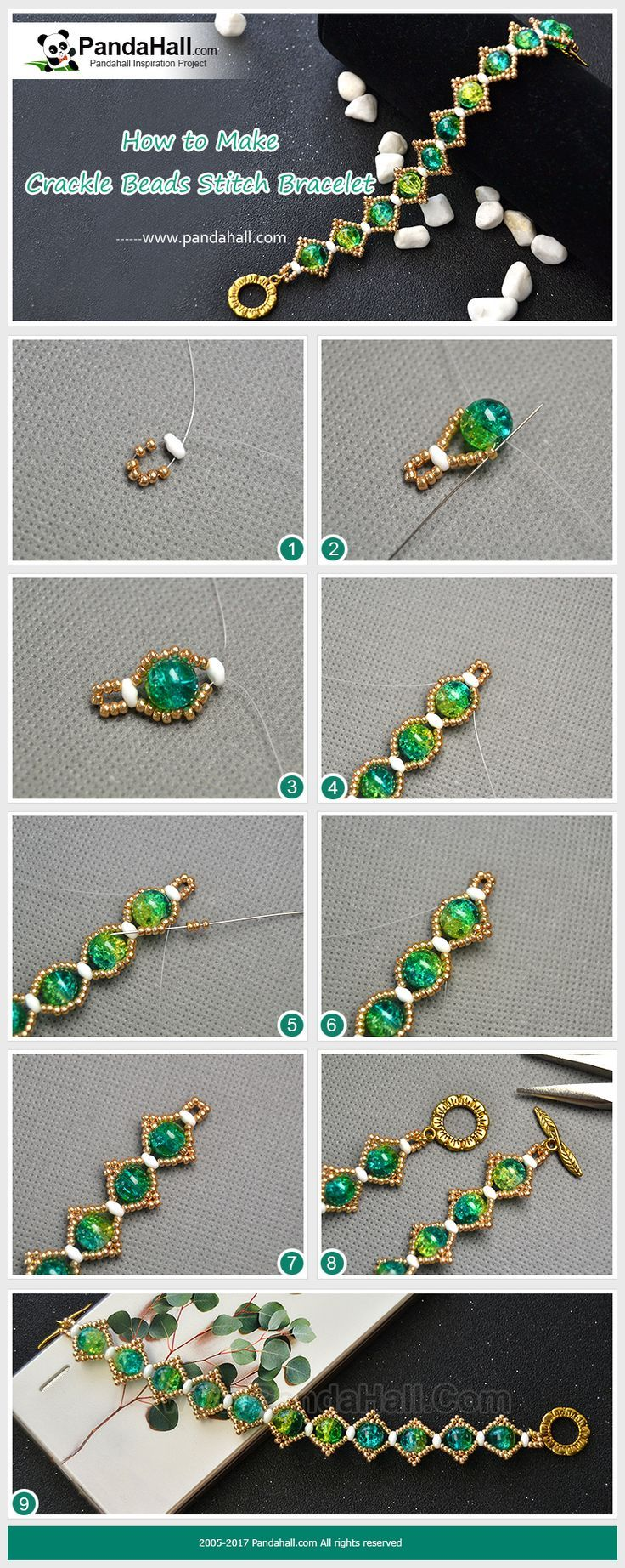 How to Make Crackle Beads Stitch Bracelet The main materials of the bracelet are crackle beads, 2-hole seed beads, gold round seed beads and fishing wires. With