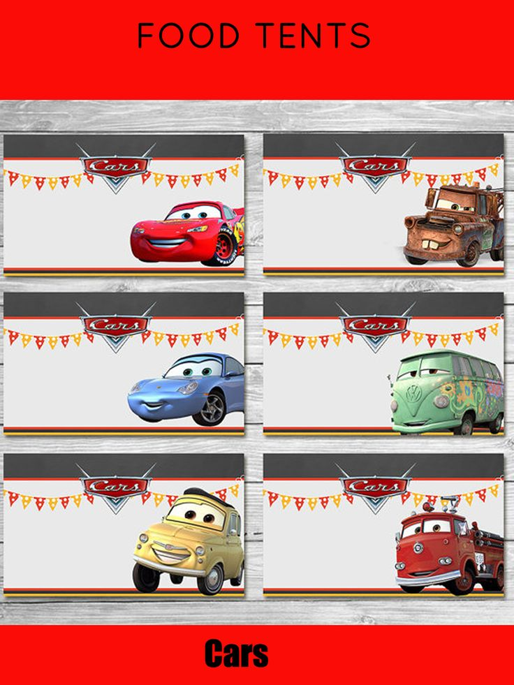 Disney Cars Food Tents Chalkboard |Cars Food Labels| Disney Cars Printables| Cars Party Favor| Cars Happy Birthday | Cars Birthday