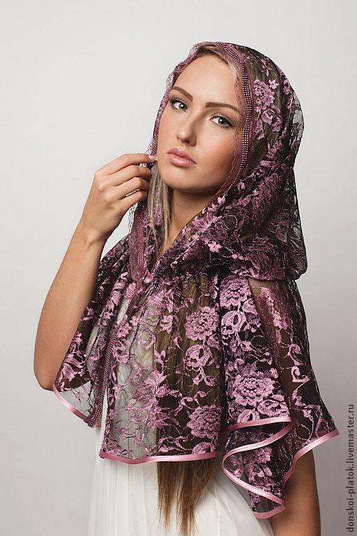 """Купить платок в храм """"Влада"""" - сиреневый, цветочный, лучший подарок маме, лучший подарок девочке"""
