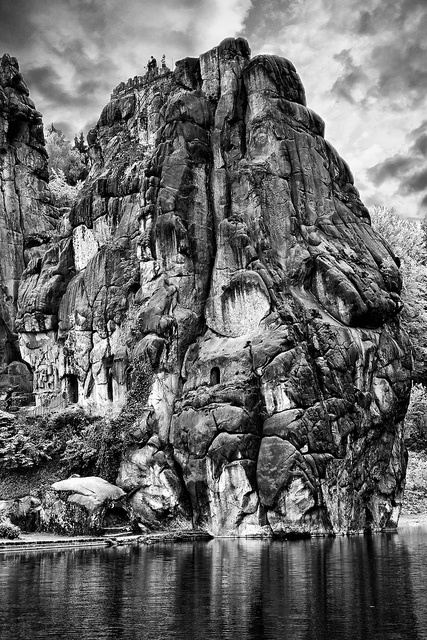 Externsteine Detmold Germany. Magic rock formation - the only one of its kind in the region. Located in the combination of the warrior caste and of warfare: the earth sign Capricorn which stands for rock formations and is the main indicator for service for a government or king together with the dynamical fire sign Aries the main indicator of warfare. Both valid for radius/field level 3 which shows how the site is embedded in the surrounding area.