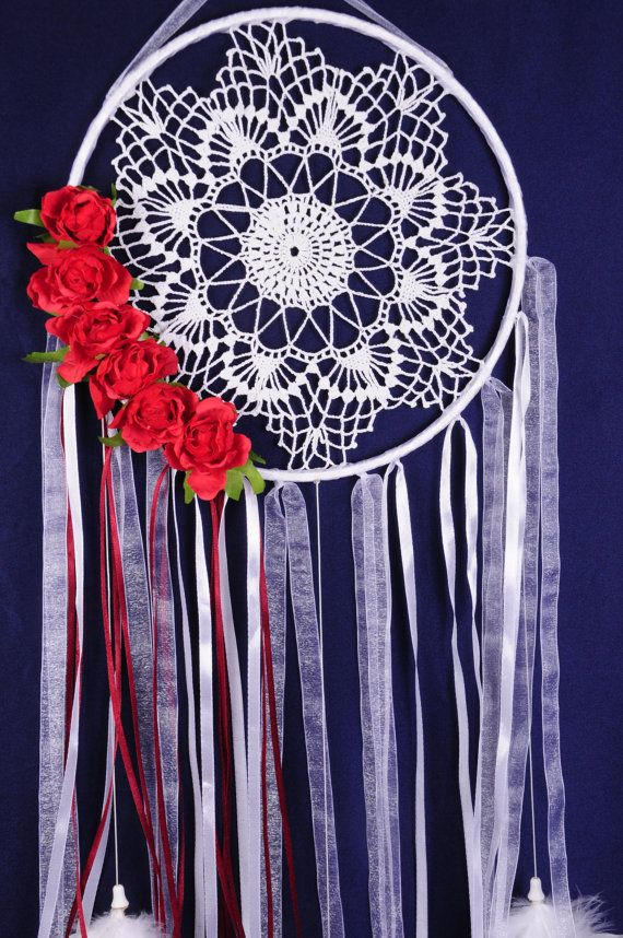 all products in my profile made personally, all the goods are in stock - items can sent in the order day      Dreamcatcher white Dream Catcher roses Dreamcatcher New red Dream сatcher gift idea dreamcatchers boho red dreamcatcher wall handmade gift    This amulet like Dreamcatcher - is not just a decoration of the interior. It is a powerful amulet, which is endowed with many properties:    - Dreamcatcher protects and ensures a healthy sleep to the owner;    Dreams -Lovets helps in practice…