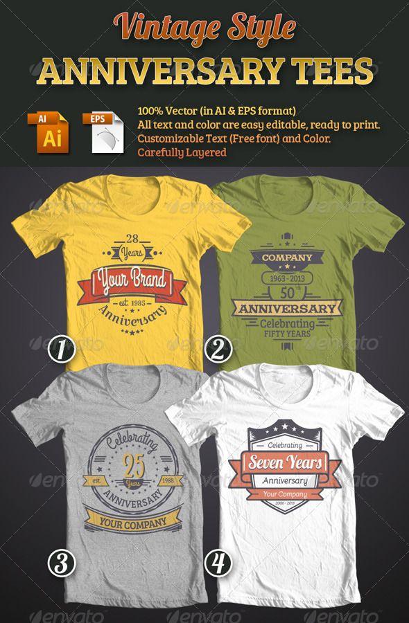 Vintage Style Anniversary Tees Bundle