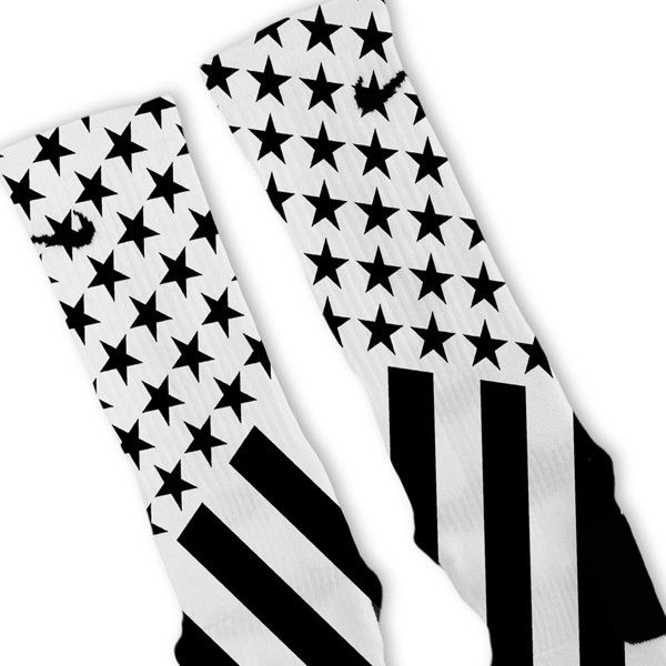 Combat Stars And Stripes Black White Custom Nike Elite Socks – Fresh Elites