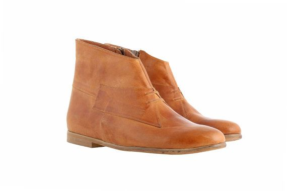ON SALE 30% Women's Flat ankle boots, camell, lite brown, handmade shoes, high quality leather ,free shipping | ADI Kilav