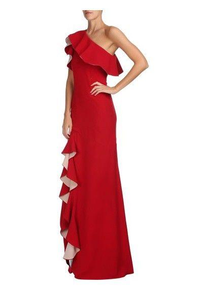 CANDY BROWN - Vestido ombro só fenda Kely - vermelho - OQVestir