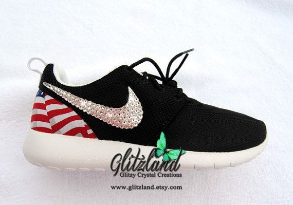 Swarovski Nike Roshe Run w/ Flag Print Heel Blinged with SWAROVSKI® Crystals