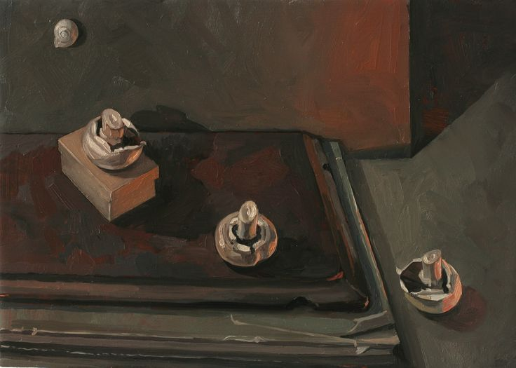 'Two Mushrooms' oil on gesso board Sam Dalby 2014