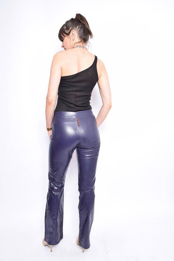 47c62195d1ab Vintage 90 s Eggplant Faux Leather Pants   Straight Leg Leather ...