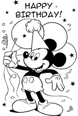 Mickey Mouse coloring sheet - Happy Birthday