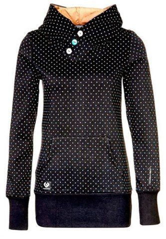 Chic Hooded Long Sleeve Polka Dot Pocket Design Women's Hoodie Sweatshirts & Hoodies | RoseGal.com Mobile