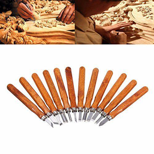Outil de Gravure sur Bois, GOCHANGE Ciseaux à Bois Sculpture / 12 pcs Main Gravure sur Bois, Couteaux à Découper pour Sculpteur,…