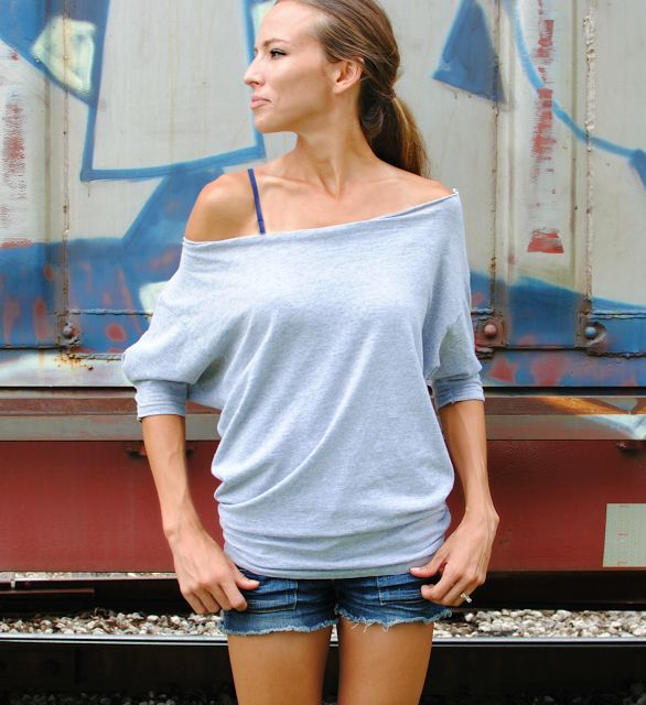 Trash To Couture: Old mens t-shirt sewn into women's dolman tee. Love this site!