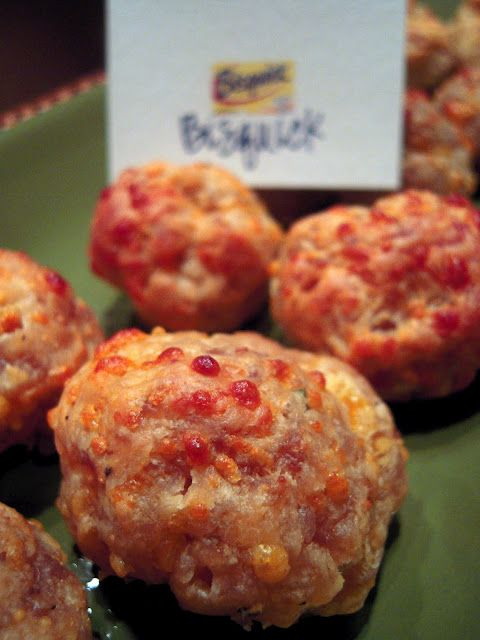 The Original Bisquick Sausage Balls  1 pound hot sausage  8 oz cheese whiz  3 cups Bisquick  1/2 cup milk    Mix all ingredients together with mixer fitted with dough hook.  Shape into balls.  At this point you can freeze the balls and bake later.  Bake at 400 for 15-20 minutes.