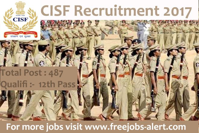 CISF Recruitment 2018. Central Industrial Security Force (CISF) invites online Applications from Male Indian citizens for filling up the posts of 487 Constable/Fire in Central Industrial Security Force .