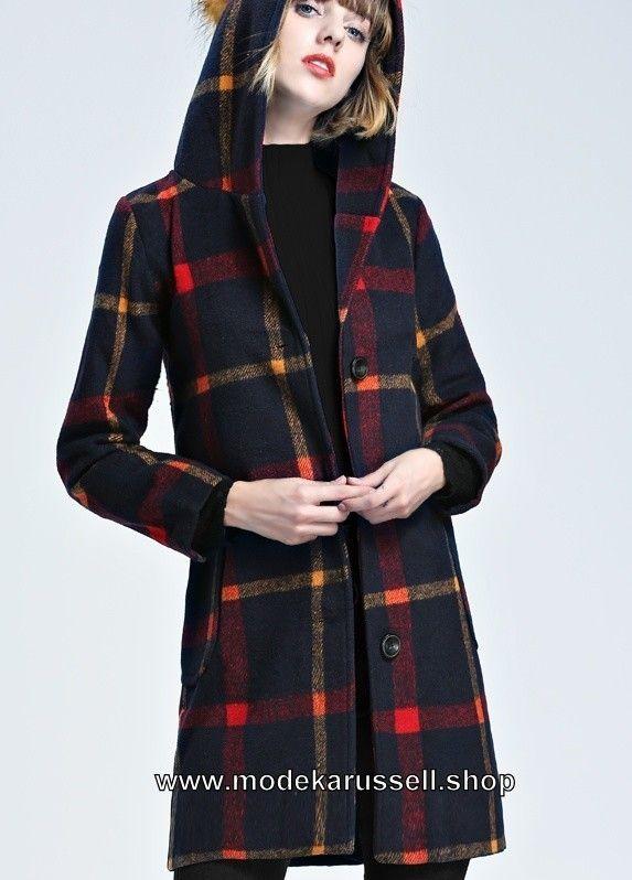 Damen Kurz Mantel aus Wolle mit Rot/Gelb Applikationen