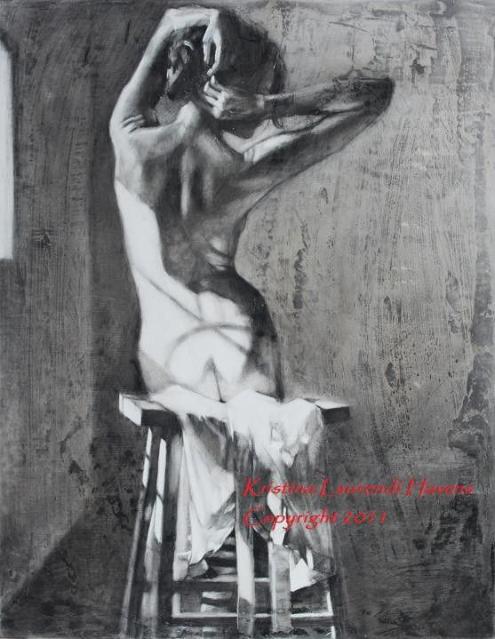 """Original Charcoal Figure Art  Drawing of a Woman -  """"In the Sunlight, Strong"""". $900.00, via Etsy."""