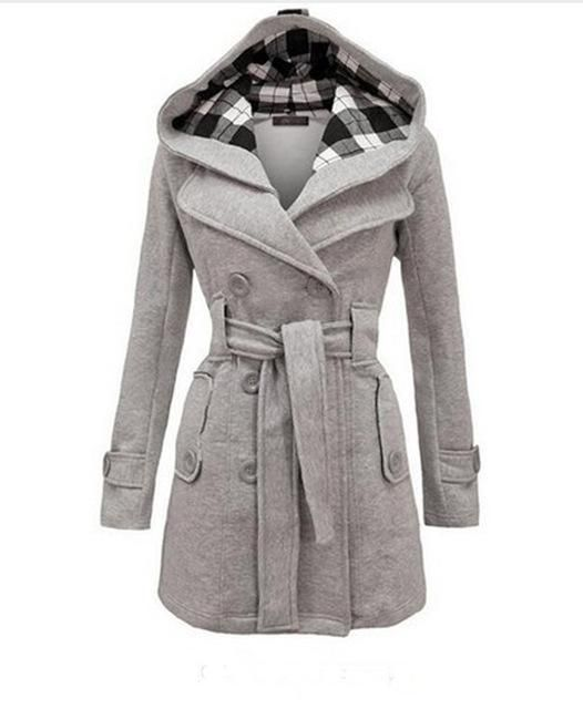 f760877acb Womens Fashion Woolen Double Breasted Pea Coat Casual Hoodie Winter Warm  Jacket