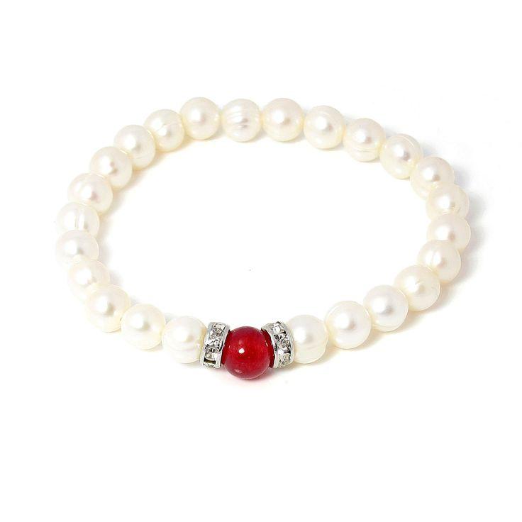 Brățară Orchira perle de cultură cu jad roșu